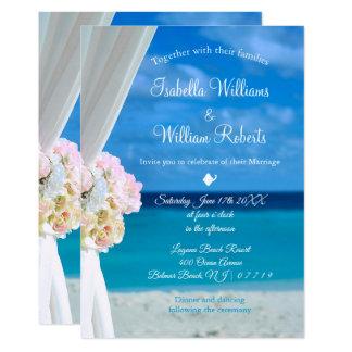 Cartão Casamento floral elegante do verão da praia do