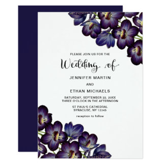 Cartão Casamento floral roxo escuro feminino chique