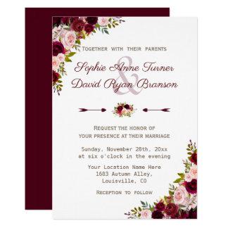 Cartão Casamento floral rústico de Borgonha Marsala