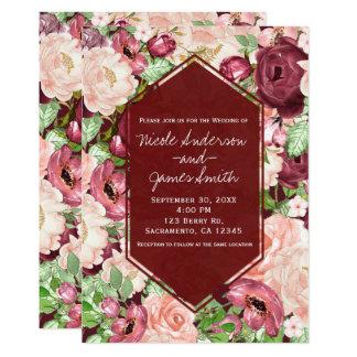 Cartão Casamento floral rústico marrom de Marsala