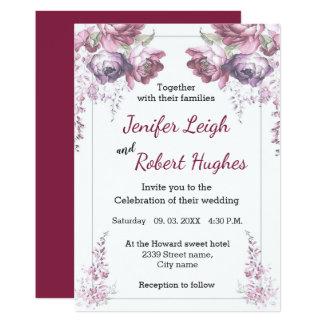 Cartão Casamento floral ultravioleta e cor-de-rosa
