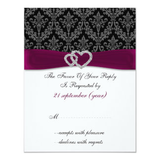 Cartão Casamento fúcsia do diamante da fita do FALSO do