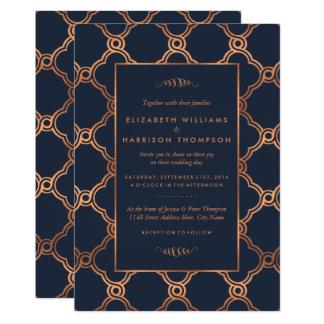 Cartão Casamento geométrico de Gatsby do art deco do