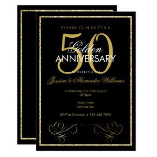 Cartão Casamento glamoroso do quadro 50th do brilho do