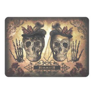 Cartão Casamento gótico dos crânios fêmeas lésbicas