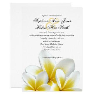 Cartão Casamento havaiano amarelo do Frangipani do