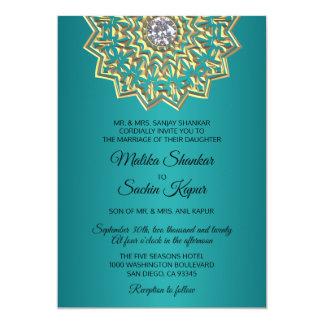 Cartão Casamento indiano do ouro da mandala do verde azul