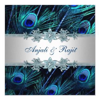Cartão Casamento indiano real de prata do pavão dos azuis