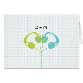 Cartão Casamento Indie do azul/verde limão do coração do