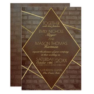 Cartão Casamento industrial do tijolo e do bronze