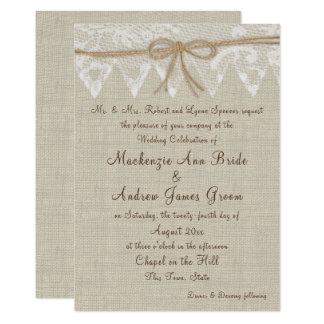 Cartão Casamento justo do laço e da serapilheira do país