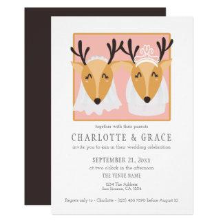 Cartão Casamento lésbica alegre de duas noivas fêmeas dos