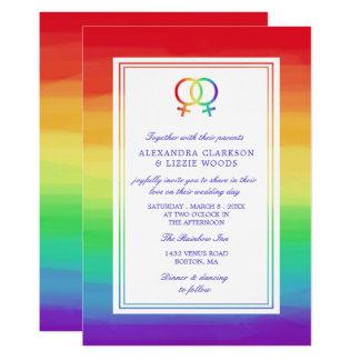 Cartão Casamento lésbica bloqueado dos símbolos | de