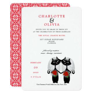 Cartão Casamento lésbica de Purrr. .fect do casamento dos