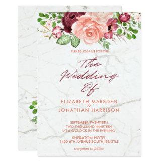 Cartão Casamento malva de mármore elegante do pêssego de