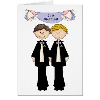Cartão Casamento masculino alegre customizável do recem