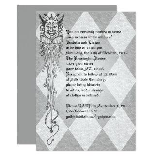Cartão Casamento medieval do gótico dos diamantes do bobo