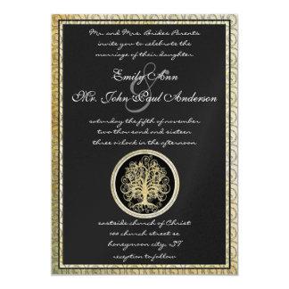 Cartão Casamento metálico da beira do ouro da árvore do