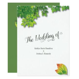 Cartão Casamento minimalista do carvalho elegante do