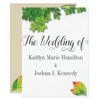 Cartão Casamento minimalista elegante do carvalho do