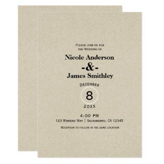 Cartão Casamento minimalista rústico do papel de