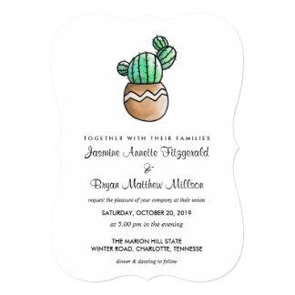 Cartão Casamento mínimo rústico do cacto do Succulent