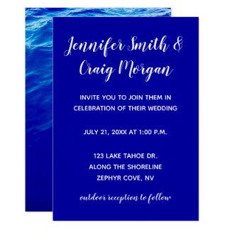 Cartão Casamento moderno da caligrafia da água azul