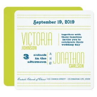 Cartão Casamento moderno da tipografia da cerceta e do