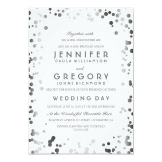 Cartão Casamento moderno dos confetes de prata e elegante