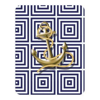 Cartão Casamento náutico da âncora da praia dos azuis