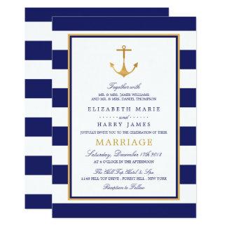 Cartão Casamento náutico da âncora do ouro do vintage