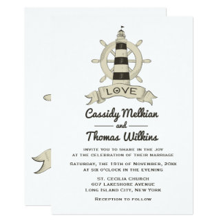 Cartão Casamento náutico de Tan do farol da roda do navio