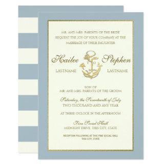 Cartão Casamento náutico do azul de aço