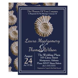 Cartão Casamento náutico elegante do Seashell de Tan da