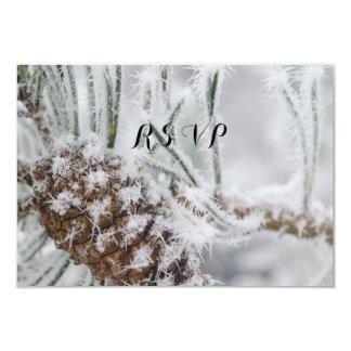 Cartão Casamento no inverno bonito, flocos de neve e