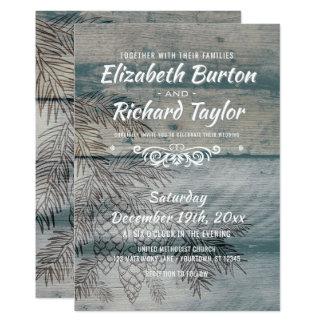 Cartão Casamento no inverno de madeira do pinheiro do