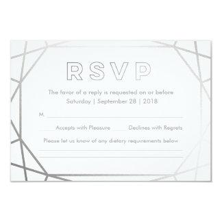 Cartão Casamento no inverno geométrico de prata RSVP de |