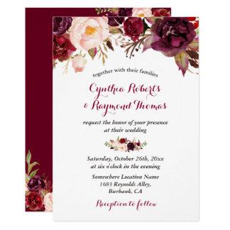 Cartão Casamento outono chique floral vermelho de