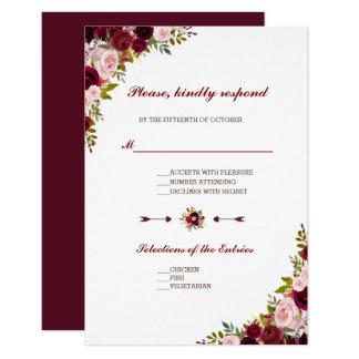 Cartão Casamento outono floral chique RSVP de Borgonha