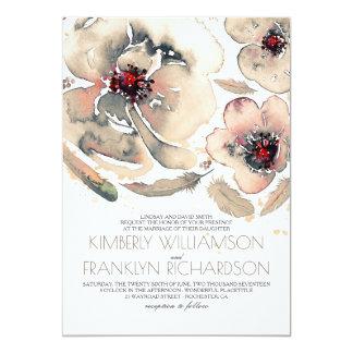 Cartão Casamento outono floral do creme do marfim da
