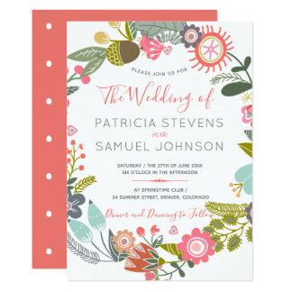 Cartão Casamento pintado mão da grinalda do prado dos