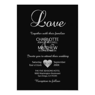 Cartão Casamento preto branco de prata clássico moderno