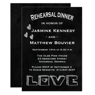 Cartão Casamento preto & branco do jantar de ensaio do
