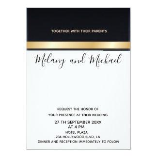 Cartão Casamento preto chique moderno elegante do branco