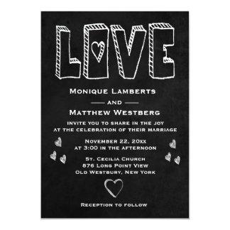 Cartão Casamento preto do coração do amor do quadro do
