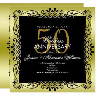 Cartão Casamento quadro decorativo do ouro romântico 50th