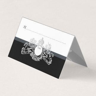 Cartão Casamento régio do emblema do unicórnio branco