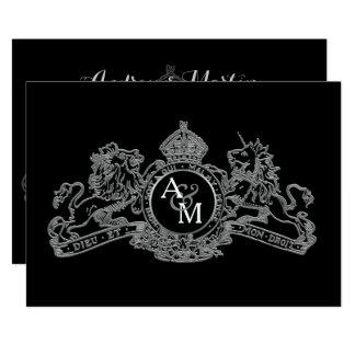 Cartão Casamento régio do emblema do unicórnio de prata