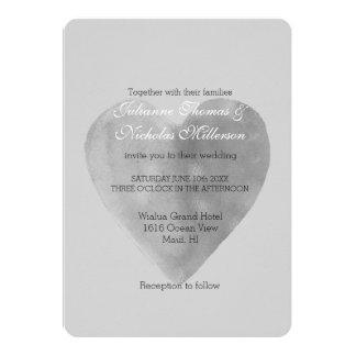 Cartão Casamento romântico do coração do cinza de prata