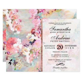 Cartão Casamento roxo cor-de-rosa floral elegante da